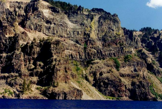 Crater Lake wall and rock formations